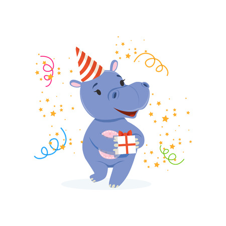 Funny baby hippo character in a party hat holding gift box, cute behemoth African animal vector Illustration Vectores