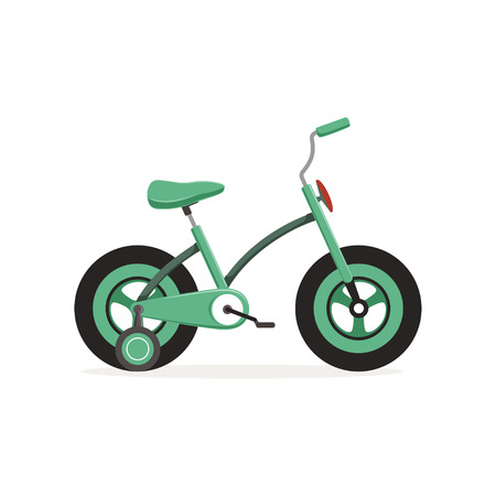 Bike with training wheels, kids bicycle vector Illustration