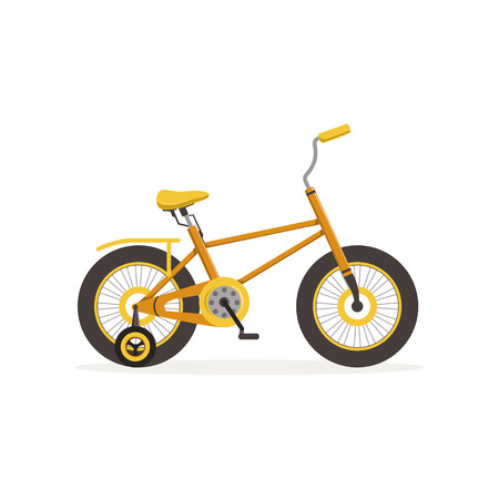 Yellow bike with training wheels, kids bicycle vector Illustration