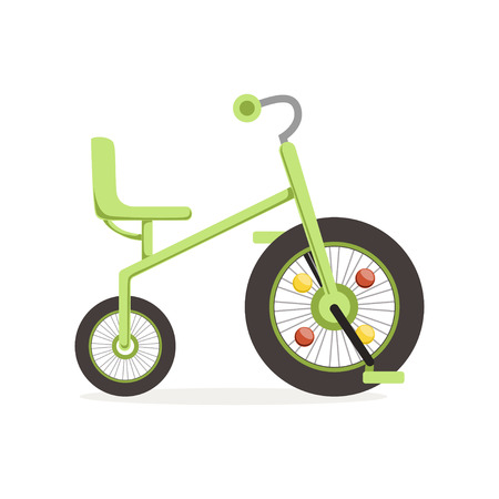 Green tricycle for children, kids bicycle vector Illustration