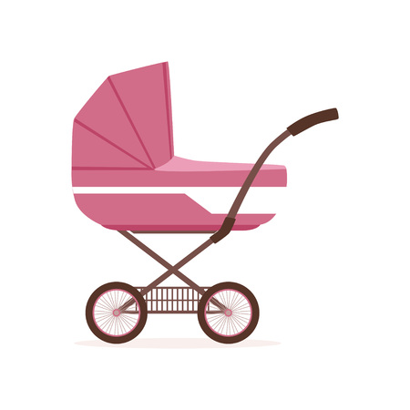 Pink baby pram or stroller, safe transportation of children vector Illustration on a white backgroun