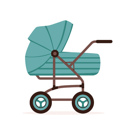 Blue baby pram or stroller, safe transportation of children vector illustration. Иллюстрация