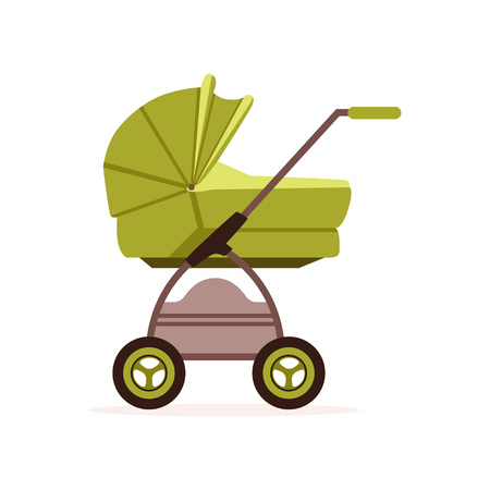 緑のベビープラムやベビーカー、白いバックグローンに子供のベクトルイラストの安全な輸送