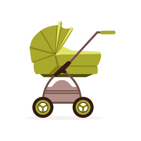 Groene baby kinderwagen of wandelwagen, veilig vervoer van kinderen vector illustratie op een witte achtergrond