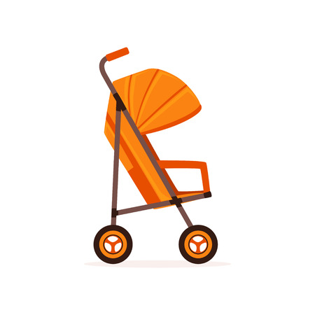 Orange baby carriage, safe handle transportation of toddler vector Illustration on a white backgroun
