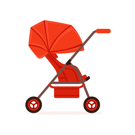 Red baby carriage, safe handle transportation of children vector Illustration on a white backgroun