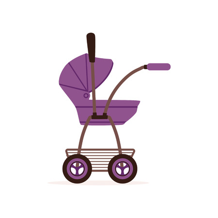 Purple baby pram or stroller, safe handle transportation of children vector Illustration on a white backgroun