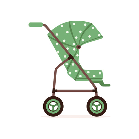 Green dotted baby carriage, safe handle transportation of toddler vector illustration.