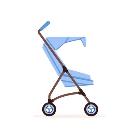 Blue baby carriage, safe handle transportation of toddler vector illustration. Çizim