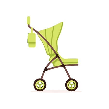 Green baby carriage, safe handle transportation of toddler vector illustration.