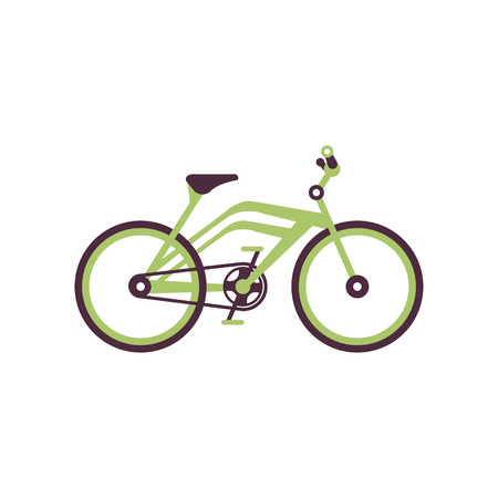 Green bike, modern bicycle vector illustration.
