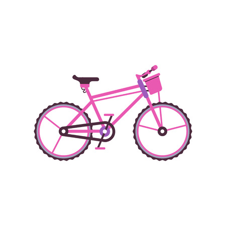 Pink city bike, modern bicycle vector illustration. 向量圖像