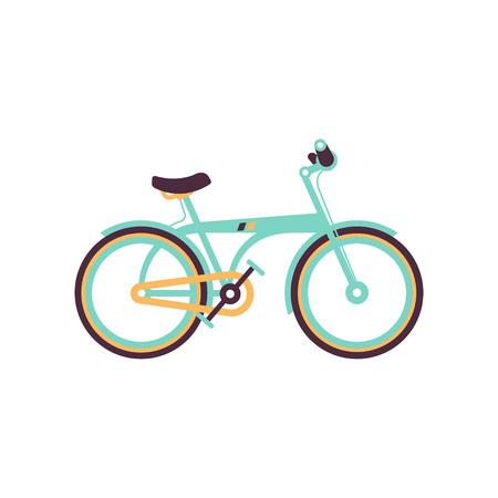 Light blue bike, modern bicycle vector illustration.