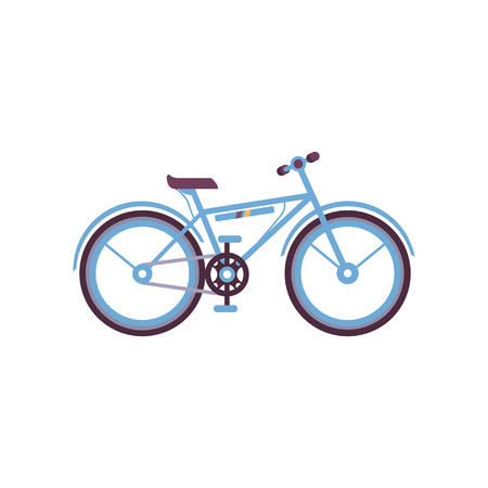 Blue bike, modern bicycle vector Illustration on a white background