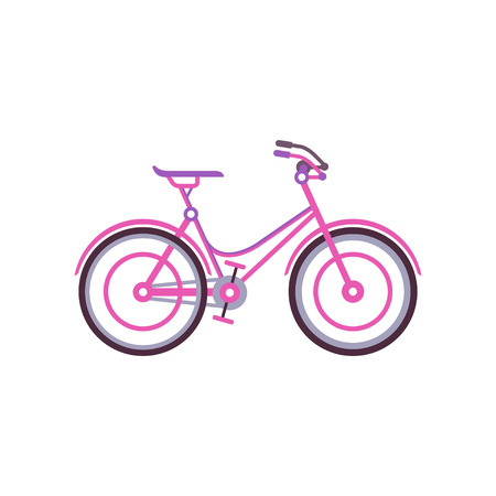 Pink classic women bike, modern bicycle vector illustration.