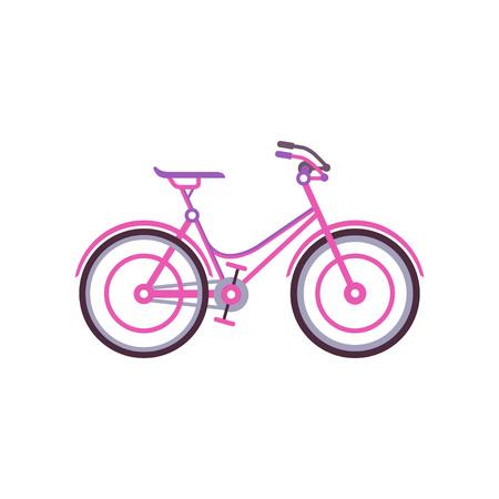 Pink classic women bike, modern bicycle vector illustration.