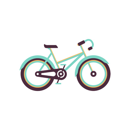 Turquoise and yellow bike, modern bicycle vector Illustration on a white background
