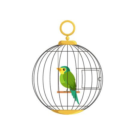 Beeldverhaalillustratie van kleurrijke kleine vogel in kooi. Groene zingende vink. Hangende cel in ronde vorm. Binnenlandse kanarie in vlakke stijl. Eenvoudig vectorontwerp voor dierenwinkel, zakelijke poster of flyer. Stock Illustratie