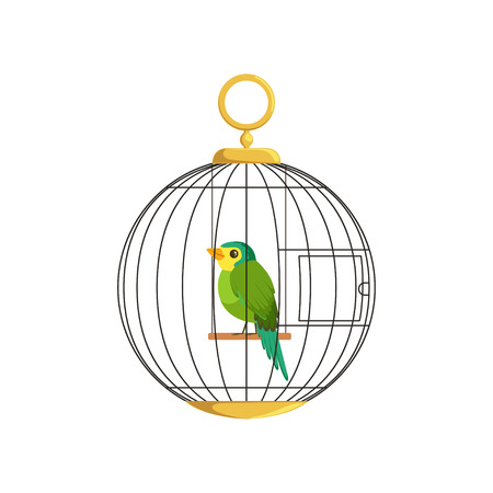 Cartoon illustration of colorful little bird in cage. Green singing finch. Hanging cell in round shape. Domestic canary in flat style. Simple vector design for pet store, business poster or flyer. Иллюстрация