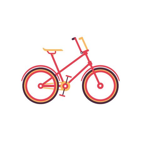 Red vintage bike, modern bicycle vector Illustration on a white background 向量圖像