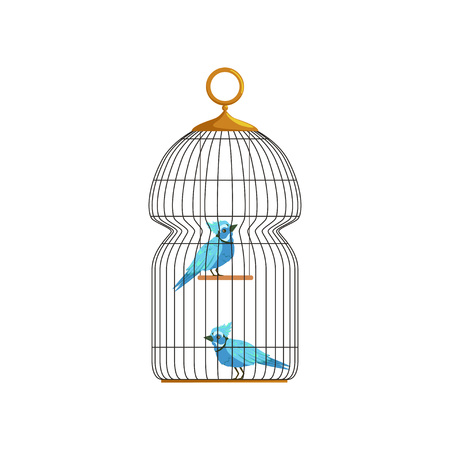 Couple blue jay characters in big hanging cell. Cute birds with bright feathers. Icon in flat style. Infographic vector element for pets healthcare Çizim