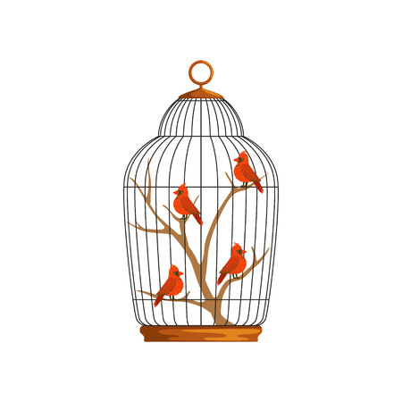 Cartoon northern cardinals sitting on wooden branch in cell. Birds with bright red plumage. Domestic animals. Colorful flat vector design for placard, flyer or badge