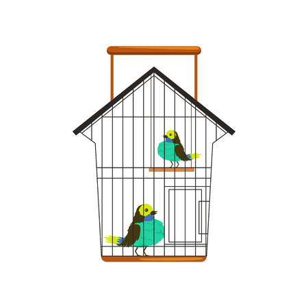 Cartoon couple of cute birds in metallic cage. One sitting on floor, other on wooden swing toy. Domestic pets concept. Isolated flat vector design Illustration