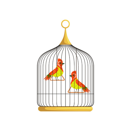 Two small bright-colored birds with a long narrow beaks and crests. Feathered creatures on triangle swings in cell. Flat vector design for placard or flyer