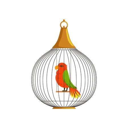丸い形のセルでエキゾチックな熱帯の鳥。尾に緑の翼と黄色の羽を持つ国内のオウム。ラベル、バッジ、ポスターのフラットベクター要素。