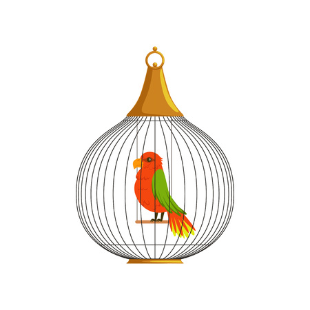 Exotic tropical bird in cell of round shape. Domestic parrot with green wings and yellow feathers on tail. Flat vector element for label, badge or poster.
