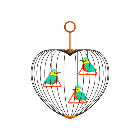 Little colorful birds with long beaks on triangle swings in cell. Cage in form of heart. Concept for pet shop, business flyer, postcard. Cartoon flat vector characters.
