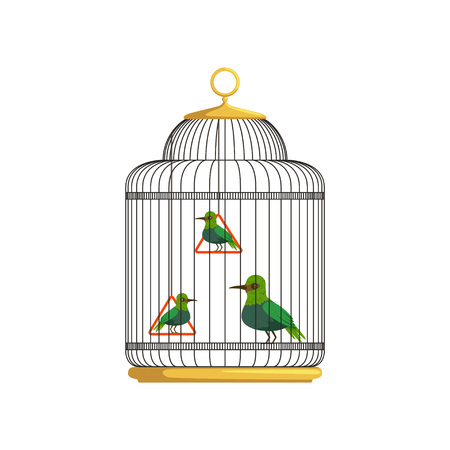 Tropical birds in antique hanging cell. Beautiful feathered creatures. Concept of domestic animals. People keep pets. Flat vector design for poster or flyer.