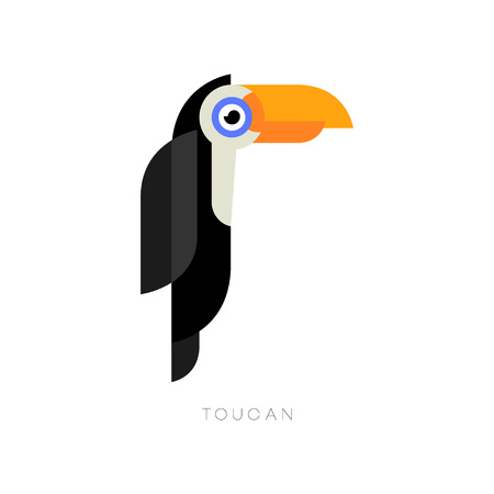 Flat geometric of toucan. Cartoon character of tropical bird with brightly orange beak. Isolated vector element for zoo store or travel agency.