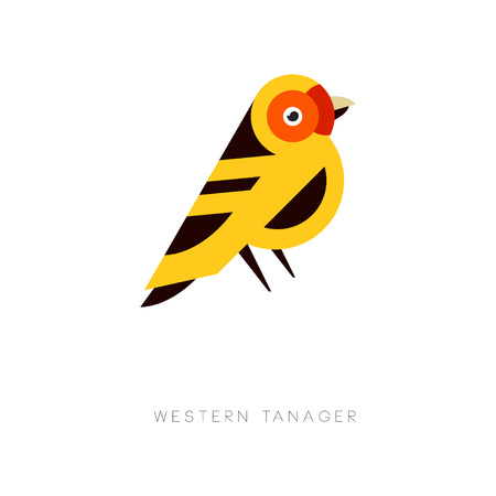 Creative geometric icon of western tanager. Bird in trendy flat style. Colorful vector element for business emblem, print or zoo store.