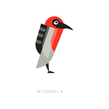 Colored myzomela composed of simple geometric shapes. Silhouette of abstract bird. Web icon in flat style. Vector element for  print or label