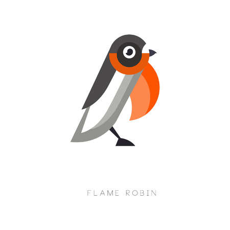 Original design of flame robin. Small passerine bird. Geometric flat vector element for environmental banner, company emblem or print.