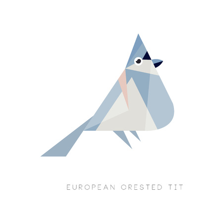 A Logo design of european crested tit. Colored bird made of simple geometric shapes. Graphic element for mobile app, web icon or emblem. Vector illustration in flat style isolated on white background.