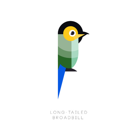 A Logo template of colorful long-tailed broadbill. Small exotic bird made from geometric figures. Flat vector illustration isolated on white background. Original design for company logo, print or emblem
