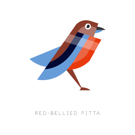 Abstract illustration of red bellied pitta. Colorful bird made from simple geometric figures. Flat vector design isolated on white background. Original element for print, business or zoo store logo. Ilustracja
