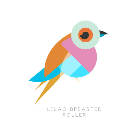Elegant logo design of lilac breasted roller. Bird made of various geometric shapes. Flat vector icon. Graphic element for mobile app, print, label. Colorful illustration isolated on white background.