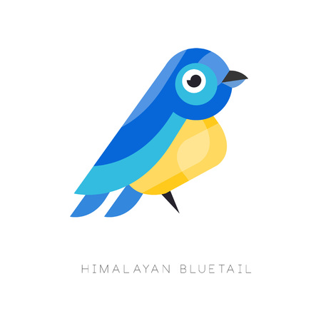 Illustration of himalayan bluetail. Colorful bird made from geometric figures. Simple icon in flat style. Graphic element for company logo, pet shop, print. Vector design isolated on white background.
