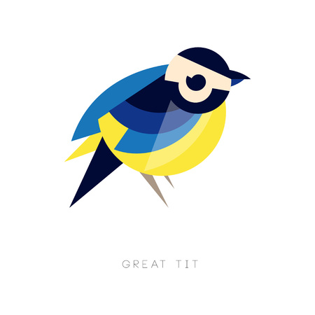 Geometrisch silhouet van koolmees. Vogelpictogram in blauwe en gele kleuren. Grafisch element voor bedrijfslogo, flyer of banner. Abstracte vectorillustratie in vlakke stijl geïsoleerd op een witte achtergrond.
