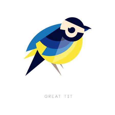 Silueta geométrica de gran tit. Icono de pájaro en colores azules y amarillos. Elemento gráfico para logotipo de la empresa, folleto o banner. Ilustración vectorial abstracto en estilo plano aislado sobre fondo blanco. Logos