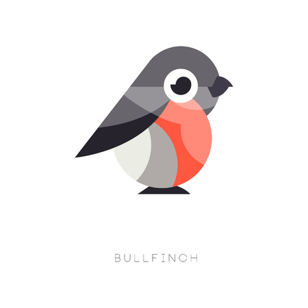 Flat geometric icon of bullfinch. Small passerine bird in red and black colors. Beautiful element for logo, environmental banner or print. Vector ornithological theme isolated on white background.