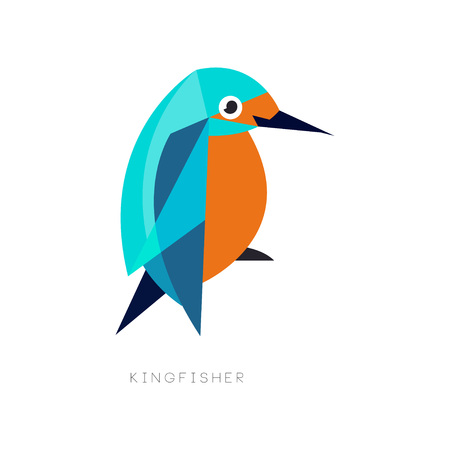 Geometric symbol of kingfisher. Brightly colored bird with long beak. Icon in flat style. Design for business logo, environmental placard or print. Abstract vector illustration isolated on white.