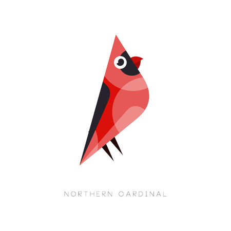 Abstract bird with bright red plumage. Flat vector illustration isolated on white background. Creative graphic element for company label, print or zoo store. Ilustracja