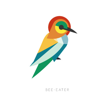 Beautiful silhouette of bee-eater composed from simple geometric shapes. Colorful abstract bird with long beak. Flat vector illustration isolated on white. Ornithological theme for logo, print, label.