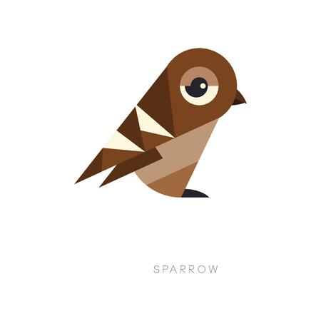 Streszczenie symbol geometryczny brązowy wróbel. Sylwetka małego ptaka wróblowatego. Element graficzny do logo, nadruku, banera ekologicznego lub ulotki. Ilustracja wektorowa w płaski na białym tle.