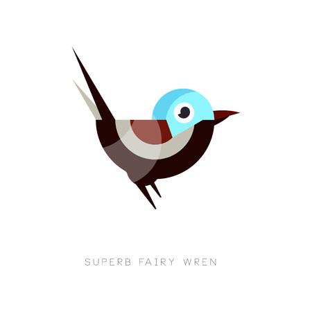 Ikona kolorowy wspaniały bajki strzyżyk. Abstrakcyjny ptak złożony z prostych kształtów geometrycznych. Element graficzny aplikacji mobilnej, ikona sieci web lub emblemat firmy. Płaskie wektor ilustracja na białym tle. Ilustracje wektorowe