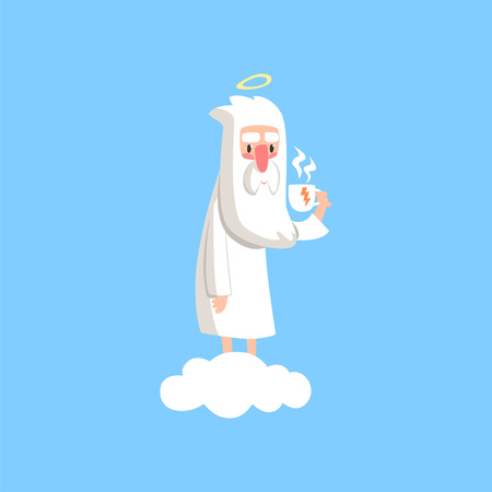 Adorable cartoon god character standing on white cloud with cup of tea. Bearded man creator with halo on his head. Illustration of Lord for religious card or print. Flat vector on blue background. Ilustração